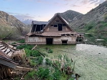 Partially submerged house in central Utah