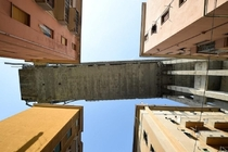 Partly collapsed Morandi Bridge from below Genova Italy