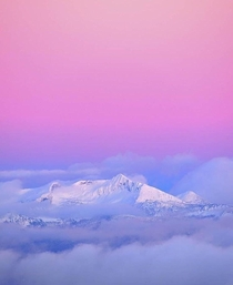 Pastel skies over Whitewater Ski Resort in Nelson British Columbia