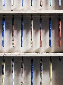 Patients toothbrushes in an abandoned asylum