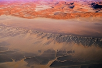 Patterns created by water trails in the Namib Desert after rainfall in the area