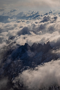 Peaks of the Silberplatten Silver plates piercing through the clouds last September Appenzell Switzerland