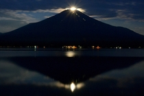 Pearl Fuji - Phenomenon when the full moon sits on the summit of Mt Fuji