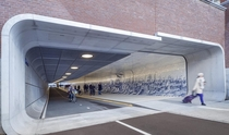 Pedestrian  Bike Tunnel in Amsterdam with a Detailed Mosaic Mural