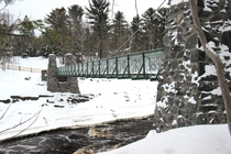 Pedestrian suspension bridge over the St Louis river Jaye Cooke State Park MN The original was destroyed in a flood in