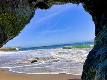 Peeking out from a natural bridge by lighthouse beach Santa Cruz CA  x