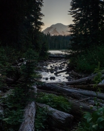 Peering out to Mt Rainier dusk over Dewey Lake