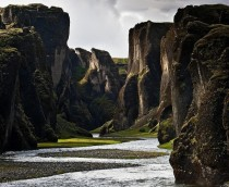 Peering through Fjarrrglfur Canyon Iceland