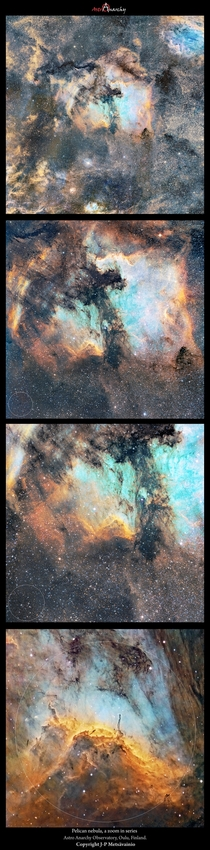 Pelican Nebula a zoom in series