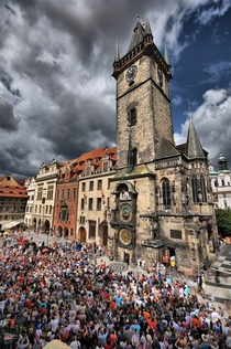 People Gathering for the Astronomical Clock in Old Town Square Prague Czech Republic