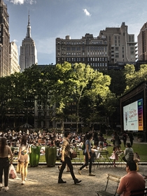 People getting ready for movie night in Bryant park