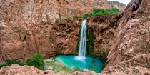 People liked my photo of Havasu Falls in Arizona so heres Mooney Falls just a few miles downstream