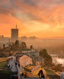People watching the sunset from the olden ramparts of Belgrade fortress