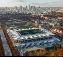 Pepsi Arena and Warsaw skyline Poland