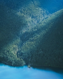 Perched high up in the Olympic Mountains looking down at Lake Cushman Washington State