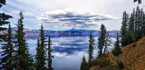 Perfect cloud reflections at Crater Lake NP in Oregon