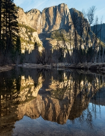 Perfect stillness on the Merced River is a rare sight but the dried-out Yosemite Falls was quite a shock Yosemite Valley