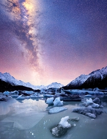 Perfectly clear night spent looking at the stars in front of ice bergs Tasman Lake NZ  south_of_home