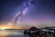 Perseid meteor and Milky Way over the rocks on the east shore of Lake Tahoe last week