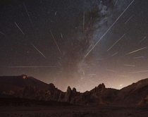 Perseids Meteor Shower  Panorama  Blend at the Roques de Garca  Tenerife Spain  OC