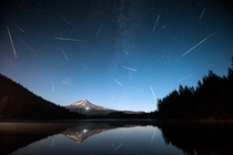 Perseids over Mt Hood from Trillium Lake in Oregon