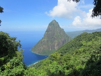 Petit Piton St Lucia a volcanic plug by the Caribbean Sea  m   ft tall