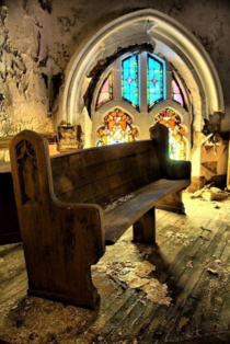 Pew in abandoned Church