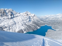 Peyto Lake after recent snowfall Jasper National Park Alberta Canada  OC