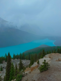 Peyto Lake during a hailstorm Banff x OC