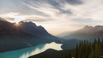 Peyto Lake shrouded in haze from all the wildfires Its hard to believe this was taken at nearly pm AB Canada