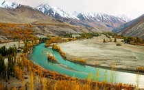 Phandar Valley with the Ghizar River flowing through - Northern Pakistan  by Muzaffar Bukhari
