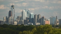 Philadelphia from the largest urban park in the world featuring the tallest building between New York and Chicago