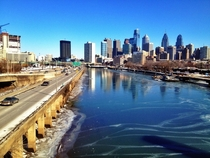 Philadelphia Skyline over the frozen Schuykill River