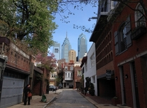 Philadelphia Skyline Towering over a Residential Street