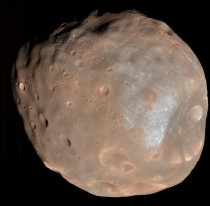 Phobos the doomed moon of Mars In  million years or so Phobos will likely be shattered by stress caused by the relentless tidal forces of Mars the debris forming a decaying ring around Mars pic resolution is approx  meters per pixel