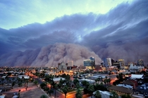 Phoenix Arizona  before a massive sand storm