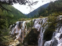 Phone pic of Pearl Shoals waterfall Jiuzhaigou National Park Sichuan China