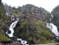 Photo from the double waterfall Latefossen taken south of Odda Norway