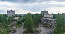 Photo of Lenin square from the top of Pripyat hotel -