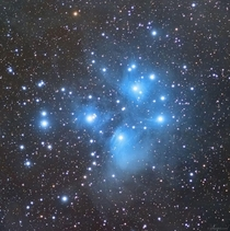 Photo of the Pleiades AKA The Seven Sisters or M an open star cluster in Taurus