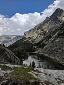 Photo taken on a  day hike from Cooke City MT to East Rosebud lake in the Beartooth Mountains it is the northeastern end of Fossil Lake at just under k altitude