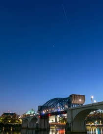 Photobombed by tonights ISS pass while taking long exposures over the river --