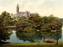 Photochrom postcard of the then-new main campus University of Glasgow circa
