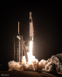 Photograph I took of the Falcon   Crew Dragon  Demo- mission using a sound-activated camera placed inside Launch Complex A