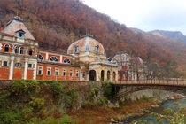 Photograph of abandoned spa complex at Baile Herculane Romania The sulfur springs were a popular escape for Austro-Hungarian royalty