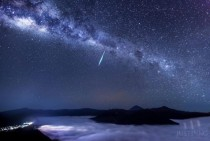 Photographer Justin Ng captured this amazing image of an Eta Aquarid meteor over Mount Bromo East Java Indonesia on May th  x-post from rpics