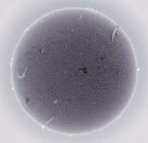 Photographs of sun using H-alpha filter