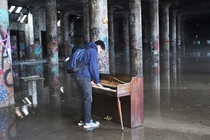 piano in an abandoned factory