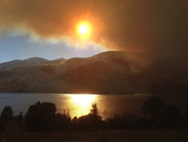 Picture I took yesterday of smoke from wildfire near Orondo WA blocking out the sun Columbia river in the foreground  x