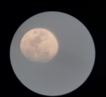 Picture of the Moon I took in   if you are confused It is a lot more clear than the last image I have taken and posted here I know it isnt perfect I literally pointed my phones camera to my telescopes lense
